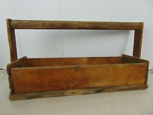 Vintage Antique Wooden Carpenters Tool Box Primitive Carrying Caddy