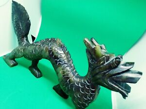 Carved Jade Dragon Early 20th Century Stone Resin Figurine