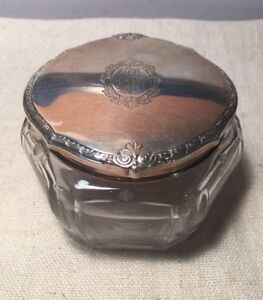 Kerr Antique Art Nouveau Sterling Silver Cut Glass Vanity Jar