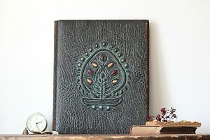 Vintage Document Folder Embossed Paper Case Portfolio Leather Document Holder