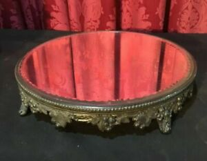 Ornate Vintage Antique Victorian Silver Plate Plateau Display Mirror
