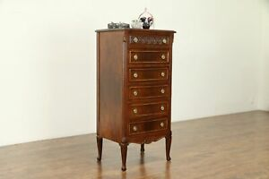 Carved Walnut 1930 S Vintage Lingerie Or Jewelry Tall Chest 30853