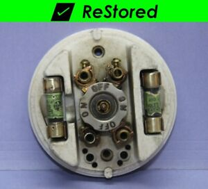 Rare Vintage H H Porcelain Brass Rotary Switch W 2 Fuses Double Pole Dpst
