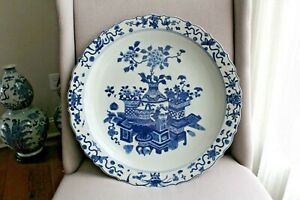 Huge 46cm Chinese Blue And White Charger With Kangxi Mark