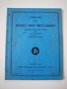 Ih Hough Hah Front end Wheel Pay Loader Tractor Parts Catalog Manual List 4a 4b
