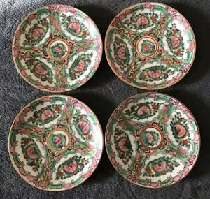 Four Export Chinese Famille Rose Medallion Porcelain Saucers Gold Rim