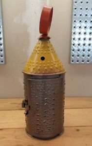 Primitive Style Paul Revere Painted Punched Tin Candle Holder Lantern