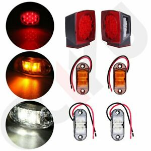 2x Led Tail Brake Stop License Lights Kit Side Marker Trailer Boat Rv Over 80