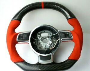 Audi R8 Gt Ttrs Rs6 Rs3 Small Red Ring Steering Wheel Carbonfiber Customized