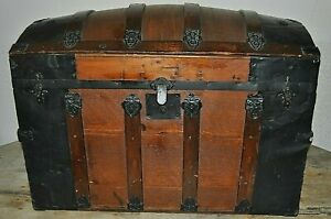 Antique Humpback Dome Trunk From The 1800 S Refinished Inside Original Hardware