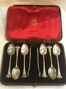 Antique Sterling Silver Tea Spoon Set W Sugar Tongs Case England London 1897