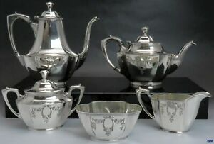 5pc Vintage Wallace Silver Plate Hand Engraved Tea Coffee Set