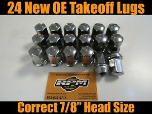 24 Gm Chevy Gmc Cadillac Factory Oem Polished Stainless 14x1 5 New Lug Nuts Lugs