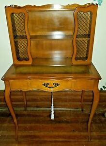 Vintage Hammary Chippendale Writing Secretary Desk Embossed Leather Top