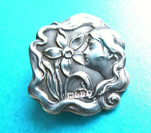 Antique Art Nouveau 1910 Solid Sterling Silver Button Lady Narcissus Flower