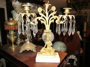 Antique Man And Dog Double Girandole Candle Holder With Luster Prisms