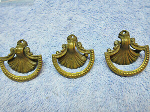3 Brass Shell Dresser Drawer Drop Ring Pulls Hands Decorative Ornate Elegant