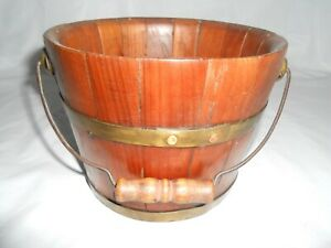 Antique Staved Wood Bucket Pail Brass Bands Metal Bail Wood Handle Vintage