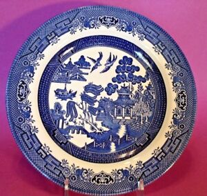 Blue Willow 4 Dinner Plates Blue And White Transferware Churchill England