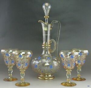 Antique Hand Blown Glass Decanter With Four Matching Wine Glasses Set