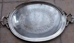 Antique Silver Plate Large Butler S Oval Handled Tray Flower Garland Etched