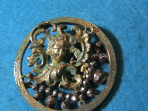Antique Button Pierced Brass Picture Of Ladies Head With Steels