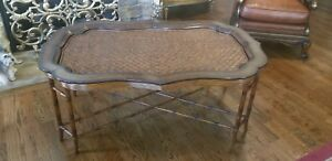 Vtg Chinoiserie Regency Coffee Tray Table Maitland Smith Leather Large 56