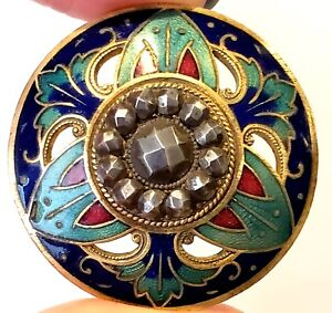 Antique Button Stunning Large Jewel Tone Enamel With Cut Steels 1