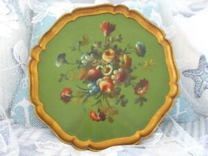 Gorgeous Green Hand Painted Tole Floral Italian Florentine Wood Tray Platter