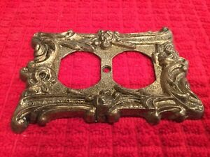 1960 S Vintage Brass Metal Outlet Cover Floral Scroll Design Plate