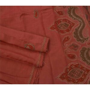 Sanskriti Vintage Red Saree Pure Silk Fabric Craft Zari Hand Beaded Decor Sari