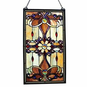 Stained Glass Window Panel Framed Victorian Hanging Tiffany Style Fine Art Deco