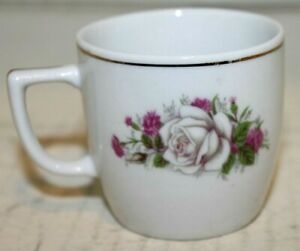 Vintage 2 Miniature Tea Cup With Rose Design And Gold Gilt Made In China