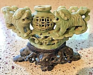Foo Dogs Carved Green Soapstone Figurine With Stand