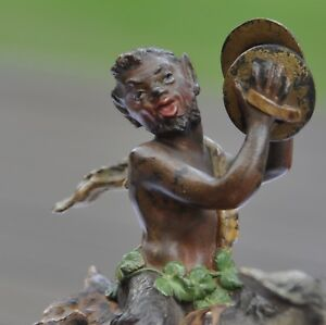 Faun Riding The Donkey Signed Cold Painted Austrian Vienna Bronze Bergman
