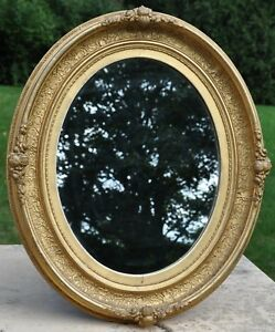 French Antique Louis Xvi Oval Gilt Frame Mirror Gold Leaf On Carved Wood