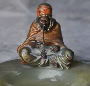Cold Painted Austrian Bronze By Franz Bergman Orientalist Onyx Tray Pipe Smoker