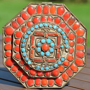 Antique Tibetan Turquoise And Coral Inlaid Prayer Box Filigree Tibet Nepal