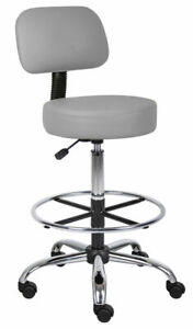 Gray Vinyl Tall Medical Dental Tattoo Salon Stools Chairs With Back And Footring