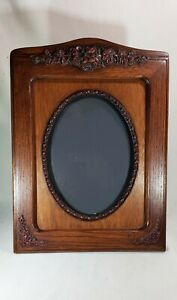 Large Antique Ornate Handcarved Solid Wood Oval Picture Frame