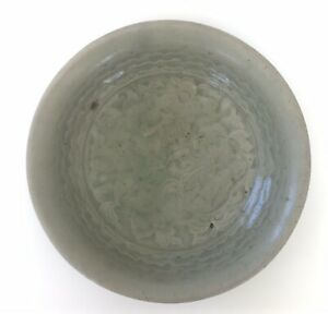 Rare Early Sung Song Dynastay Celadon Conical Bowl Carved Peony Blossom Dish