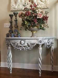 Vtg Gustavian Painted Carved Wood Marble Top Console Sofa Table Lions Twist Legs