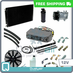 New Ac Universal Under Dash Air Conditioner Kit 12v W Serpentine Compressor