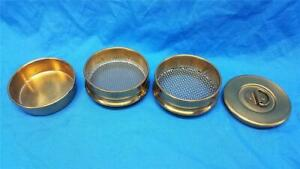 3 Test Sieve Set No 12 And 18 Mesh Half Height Brass Frame Stainless Cloth