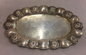 Vintage Mexico Sterling Silver Repousse Fluted Oval Pin Tray