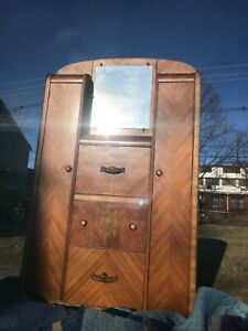 Pre Owned Antique Wood Armoire Bedroom Furniture Drawers And Mirror Local Pickup