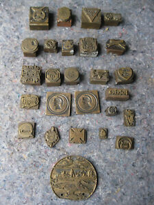 Antique Lot Of 26 Pcs Printers Blocks Copper And Brass Images And Logo S
