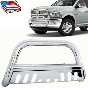 Fits 2006 2008 Dodge Ram 1500 3 Chrome Round Front Bumper Skid Plate Brush Push