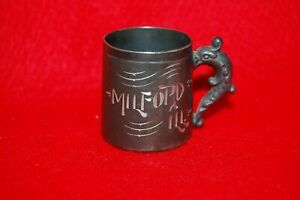 Small Victorian Bright Cut Silver Plated Souvenir Cup Milford Ill