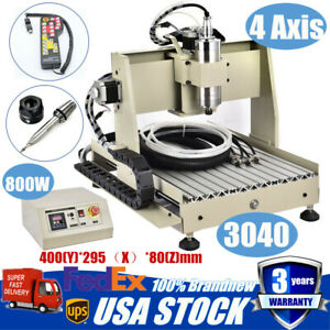 4axis 3040 Cnc Router Engraving Milling Machine Woodwork Engraver 800w Controlle